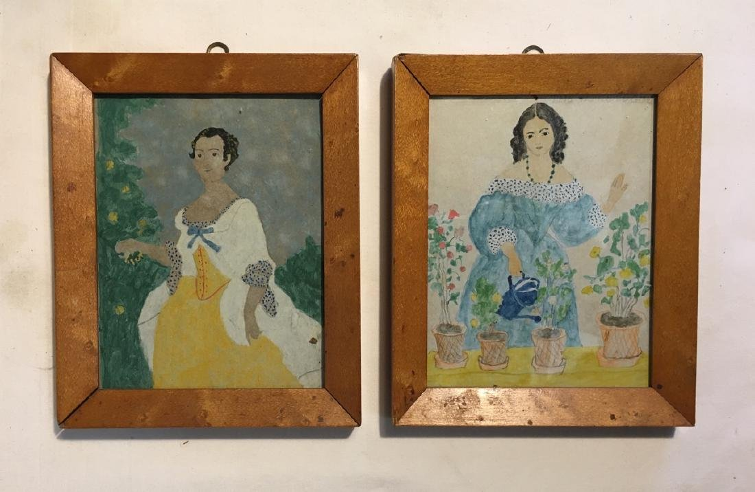 Pair of 19th C Watercolor Portraits