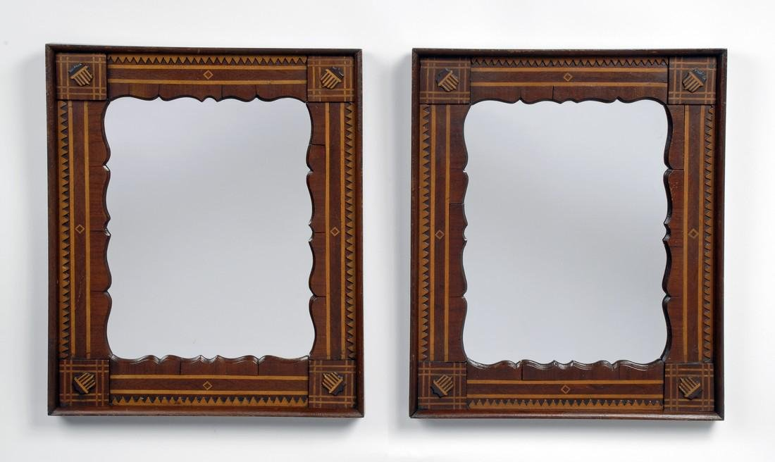 Pair of Patriotic Inspired Marquetry Mirrors