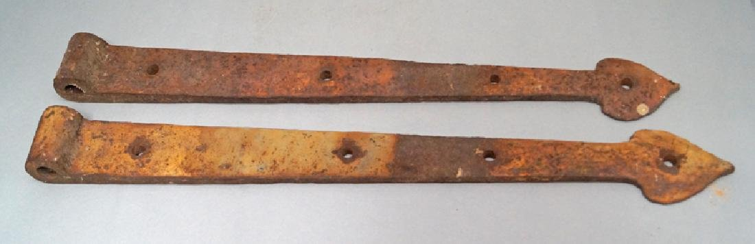 Antique Hand Forged Strap Hinges w/ Heart Point