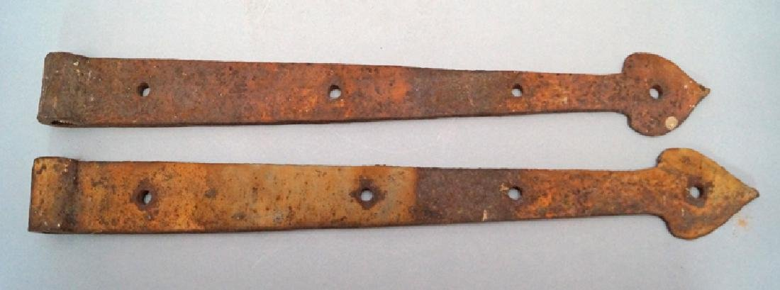 Antique Hand Forged Strap Hinges w/ Heart Point - 2