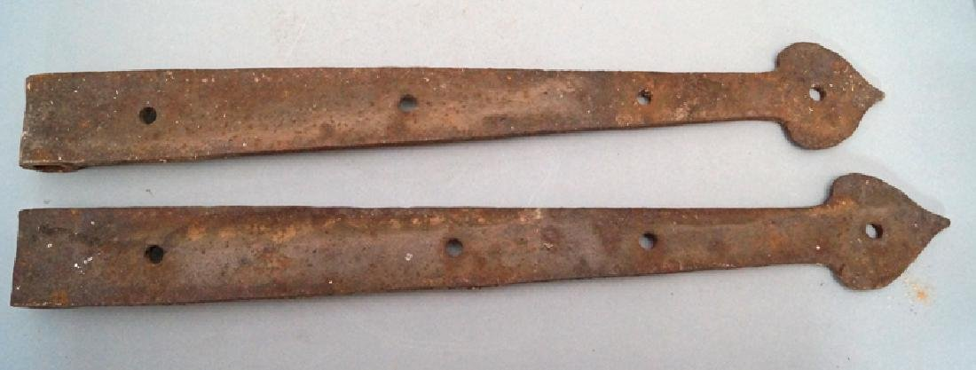 Antique Hand Forged Strap Hinges w/ Heart Point - 3