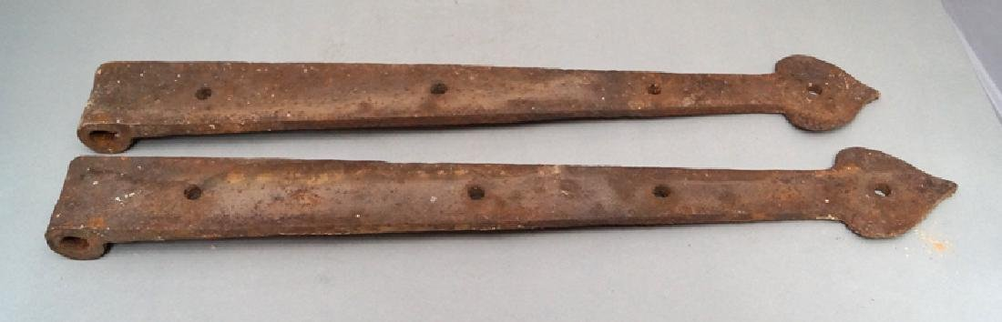 Antique Hand Forged Strap Hinges w/ Heart Point - 4