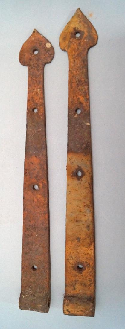 Antique Hand Forged Strap Hinges w/ Heart Point - 5