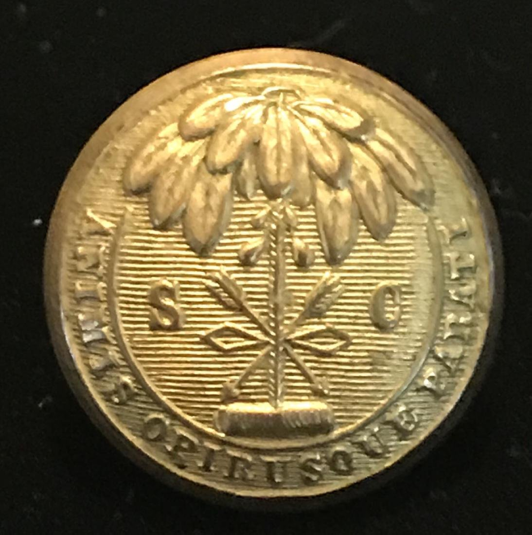 Civil War South Carolina Brass Coat Button