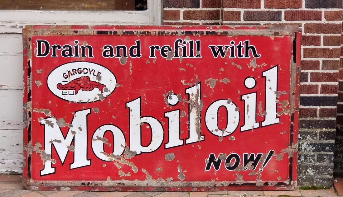 1930's Mobiloil Gargoyle Porcelain Sign 3 feet x 5 feet