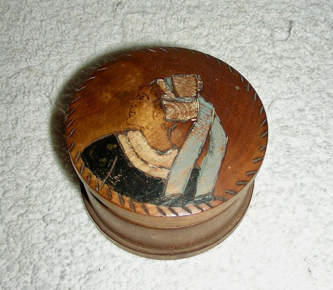Wooden Snuff Box W/ Woman in Bonnet Etched & Painted