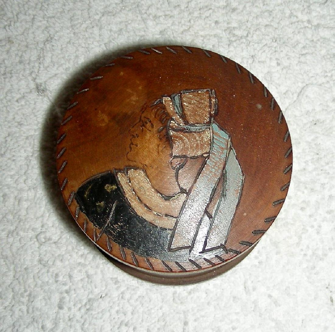 Wooden Snuff Box W/ Woman in Bonnet Etched & Painted - 2