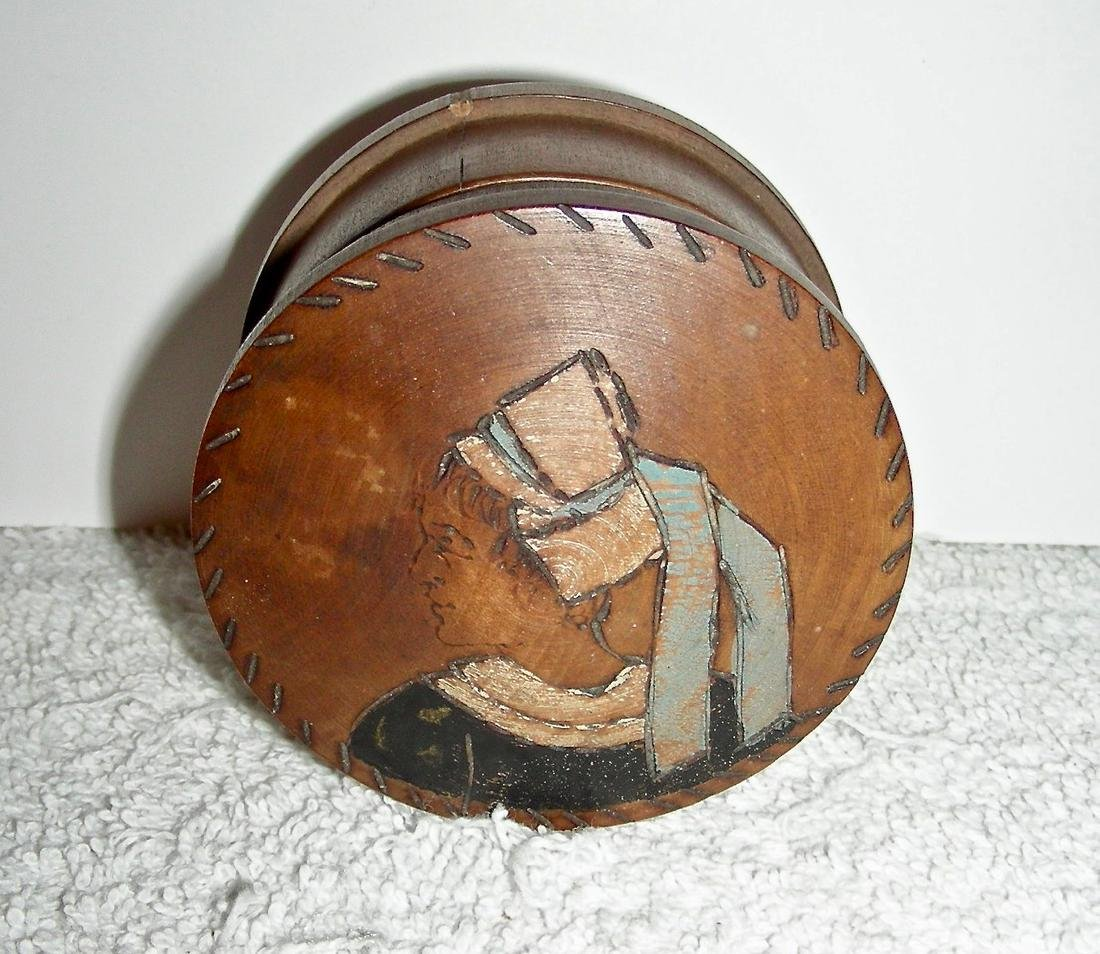 Wooden Snuff Box W/ Woman in Bonnet Etched & Painted - 4