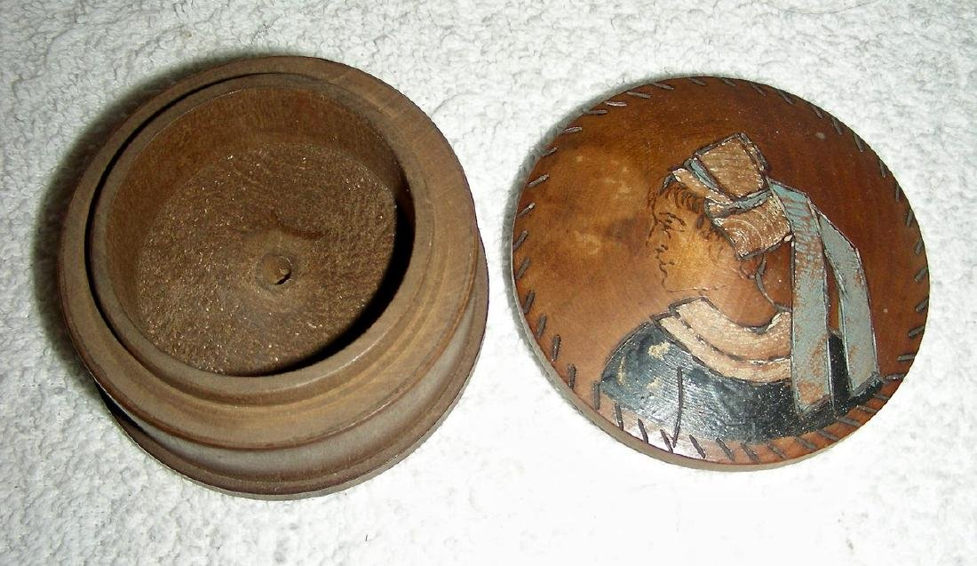 Wooden Snuff Box W/ Woman in Bonnet Etched & Painted - 5
