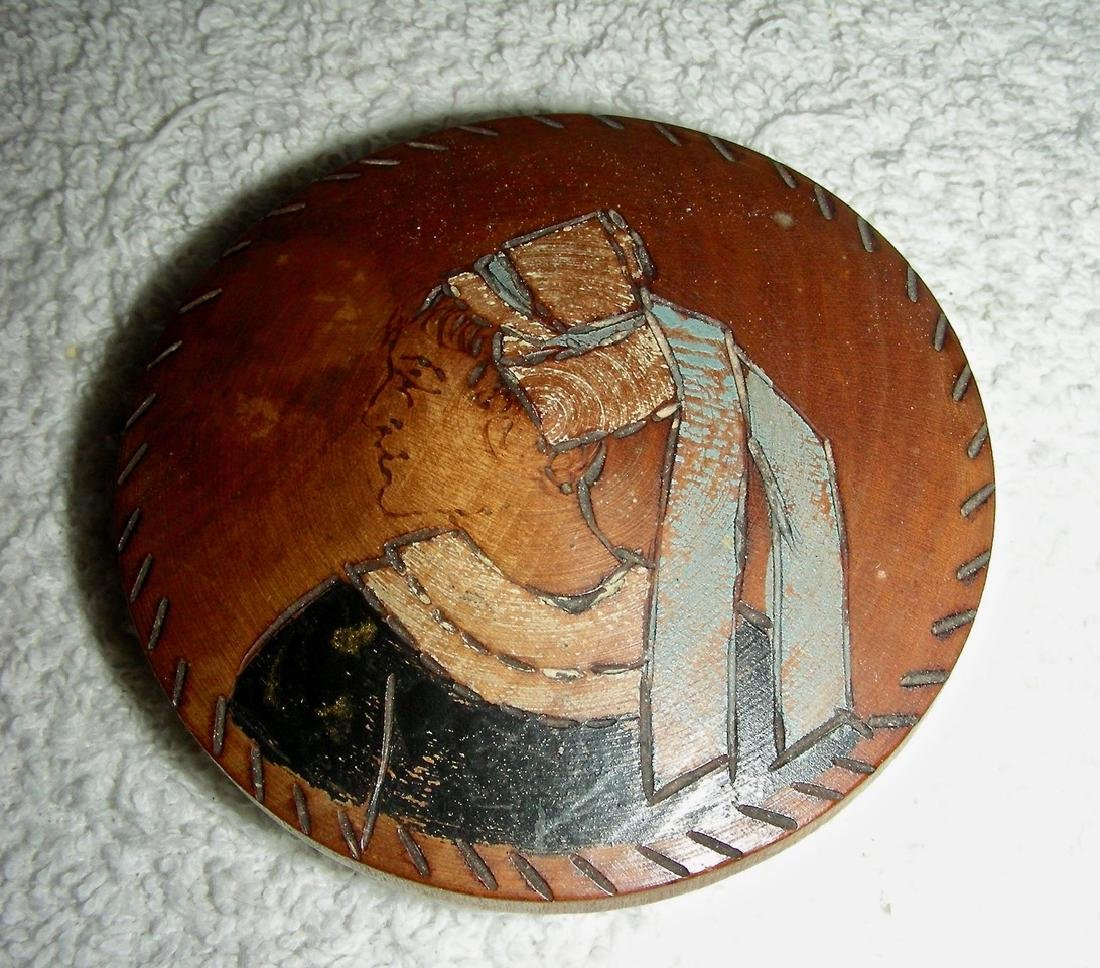 Wooden Snuff Box W/ Woman in Bonnet Etched & Painted - 6