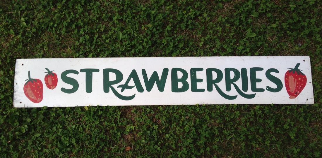 Hand Painted on Masonite Strawberries Garden Stand Sign