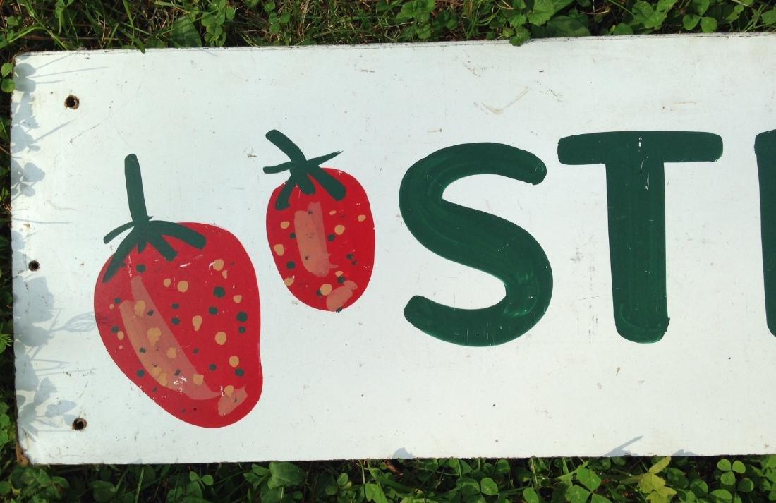 Hand Painted on Masonite Strawberries Garden Stand Sign - 2