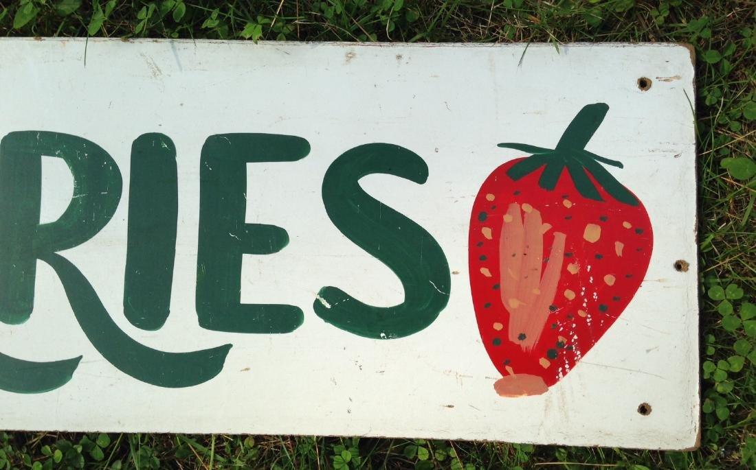 Hand Painted on Masonite Strawberries Garden Stand Sign - 3