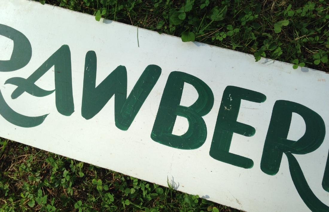 Hand Painted on Masonite Strawberries Garden Stand Sign - 4