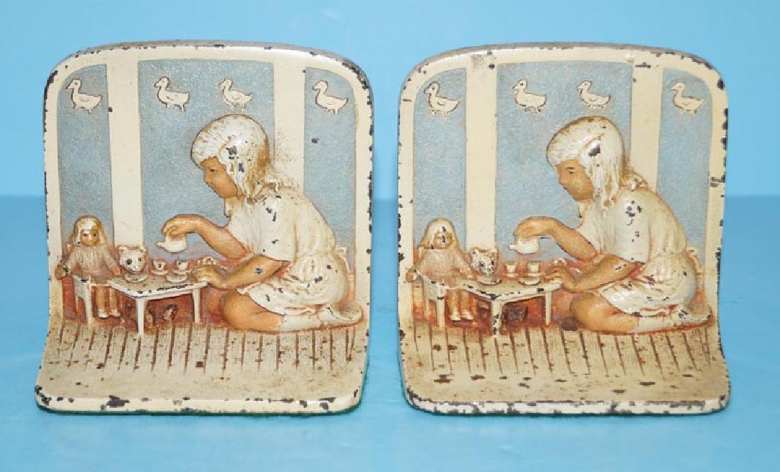 Girl Playing w/ Toys Antique Cast Iron Bookends