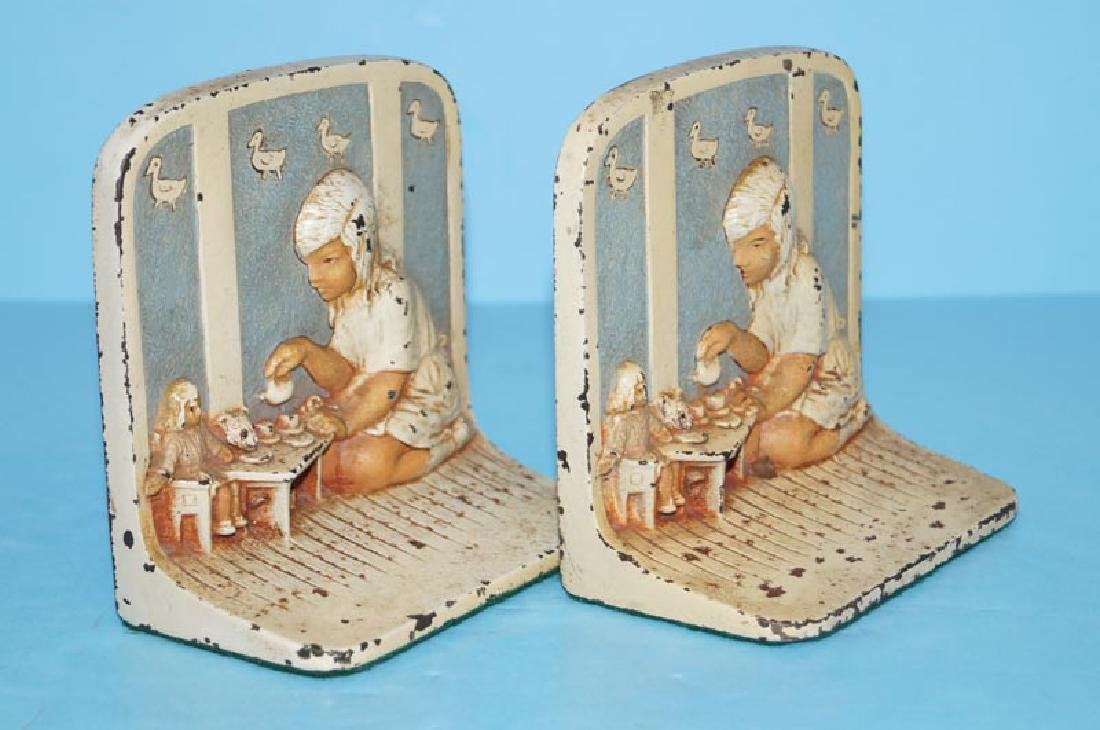 Girl Playing w/ Toys Antique Cast Iron Bookends - 2