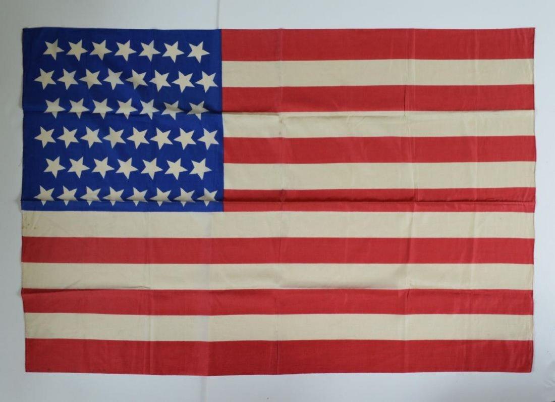1896 Vintage 45 Star American Parade Flag Printed Silk