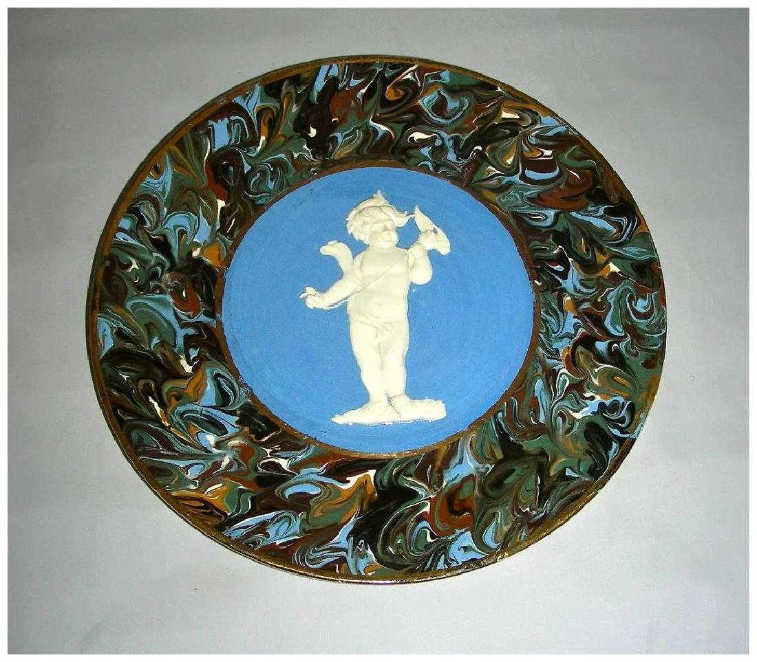 Blue Slip Decorated Marbled Mocha Ware Plaque Fradley