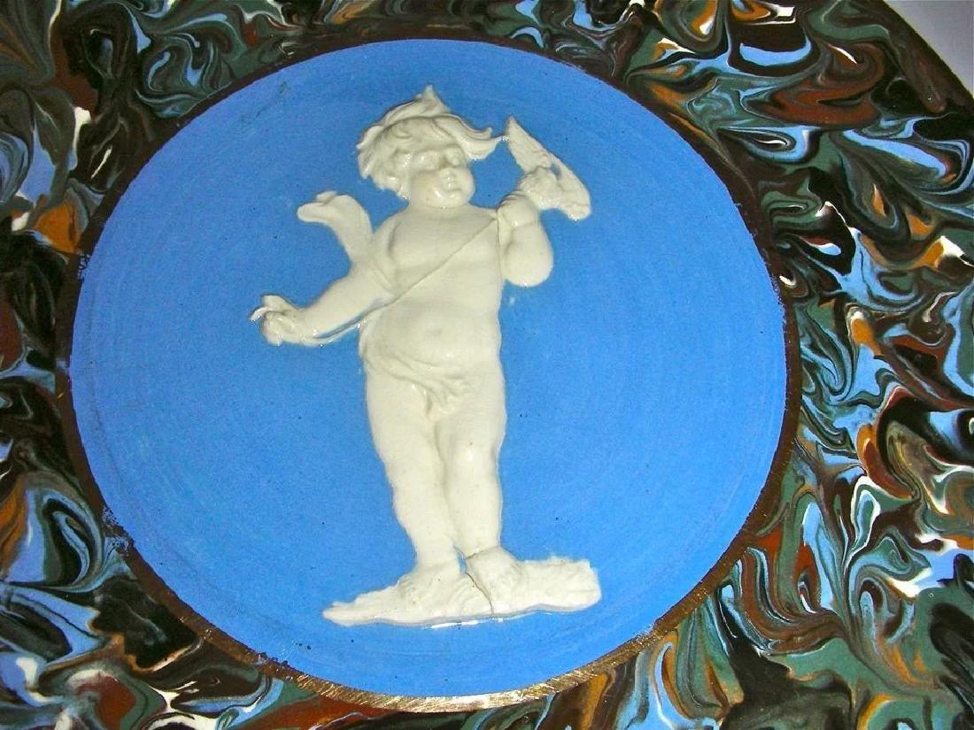 Blue Slip Decorated Marbled Mocha Ware Plaque Fradley - 2