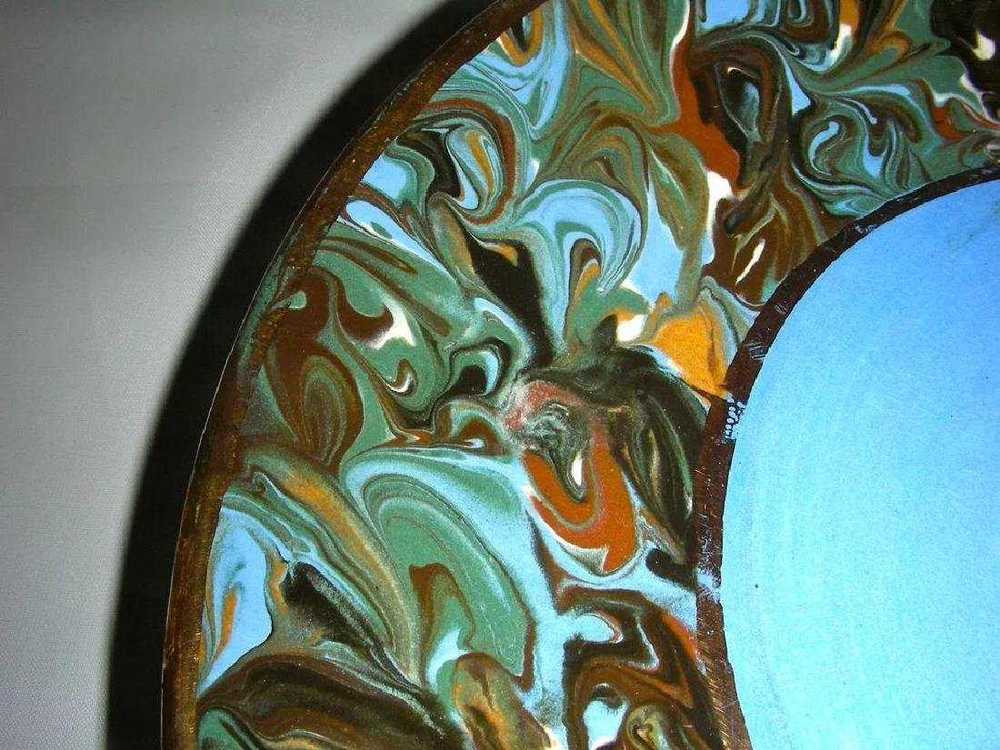 Blue Slip Decorated Marbled Mocha Ware Plaque Fradley - 4