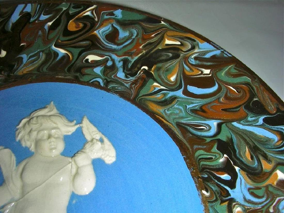 Blue Slip Decorated Marbled Mocha Ware Plaque Fradley - 5