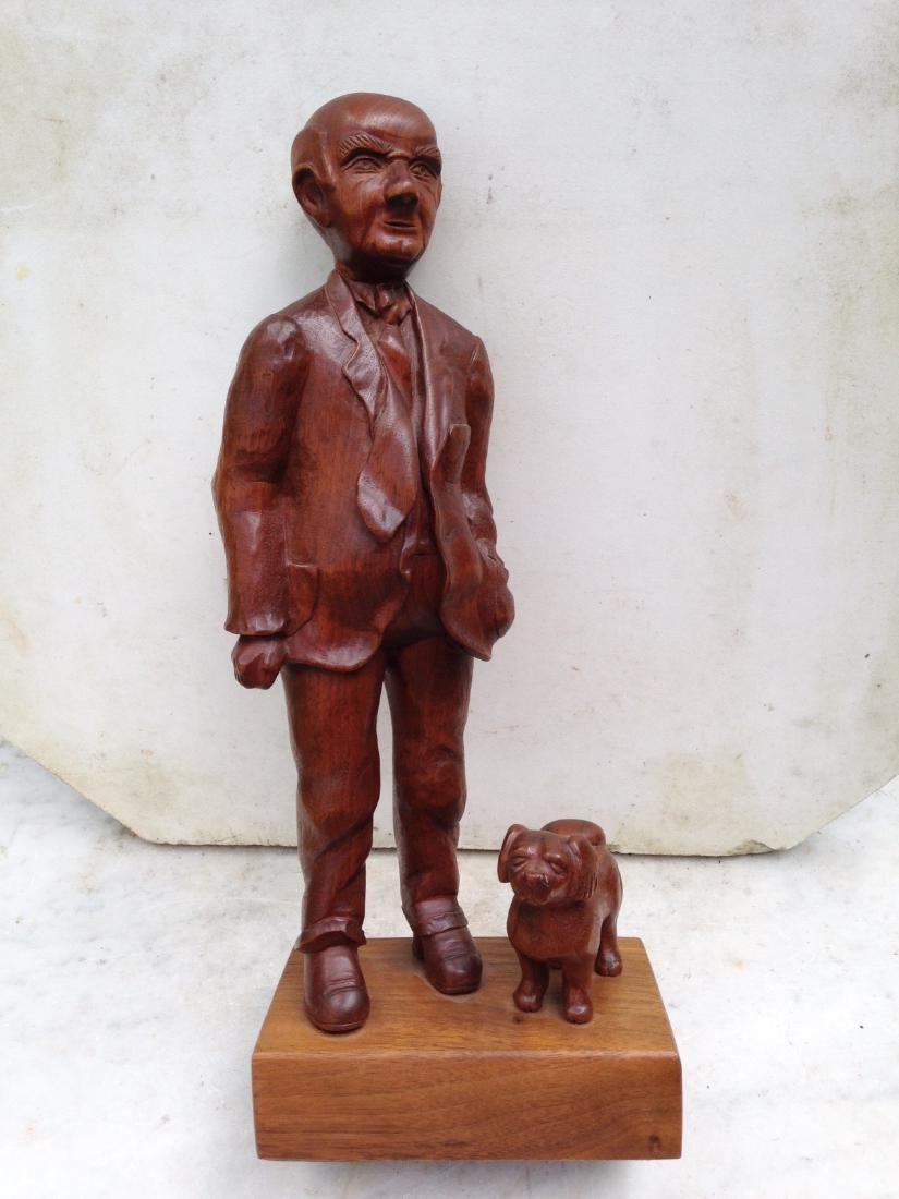C 1940's Carved Walnut Man With Dog