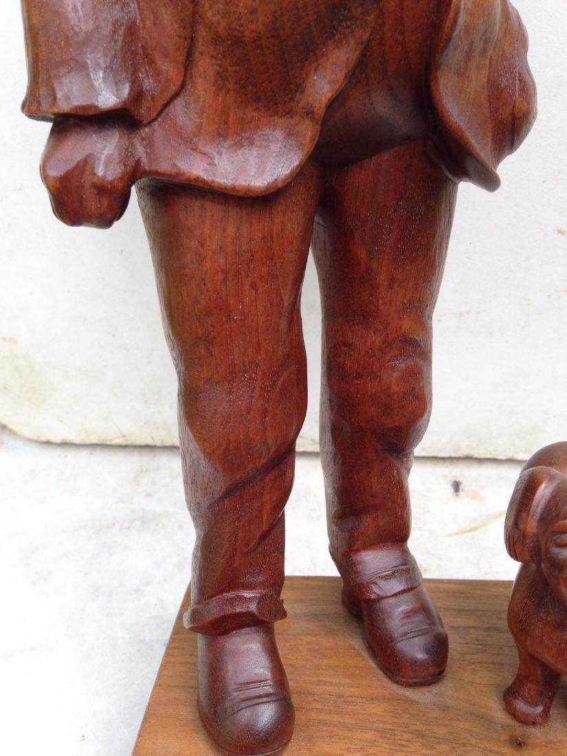 C 1940's Carved Walnut Man With Dog - 5