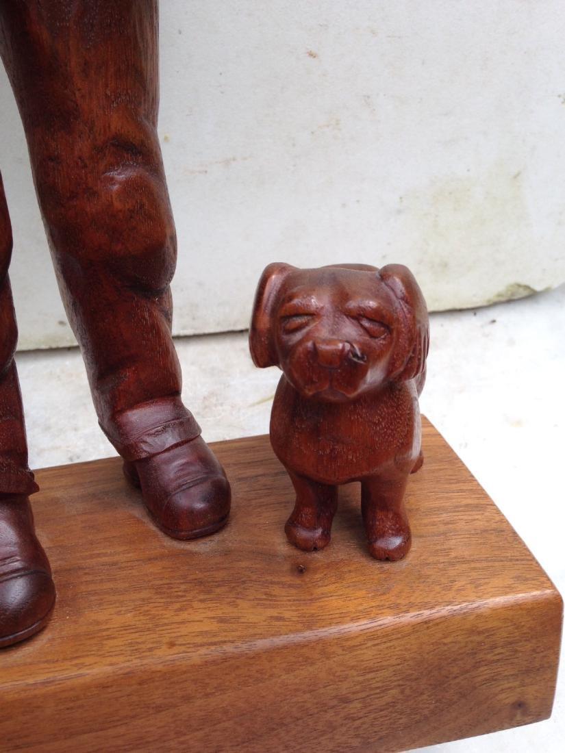 C 1940's Carved Walnut Man With Dog - 6