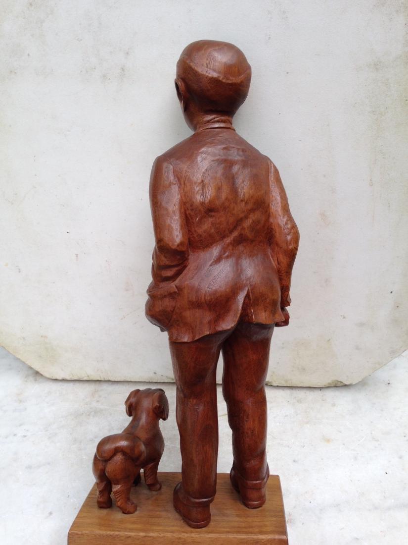 C 1940's Carved Walnut Man With Dog - 7