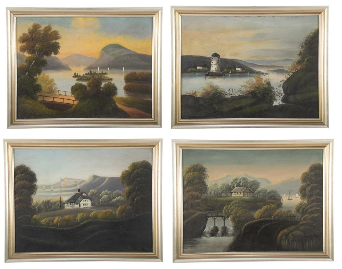 Set of 4 19th Century Hudson River Paintings
