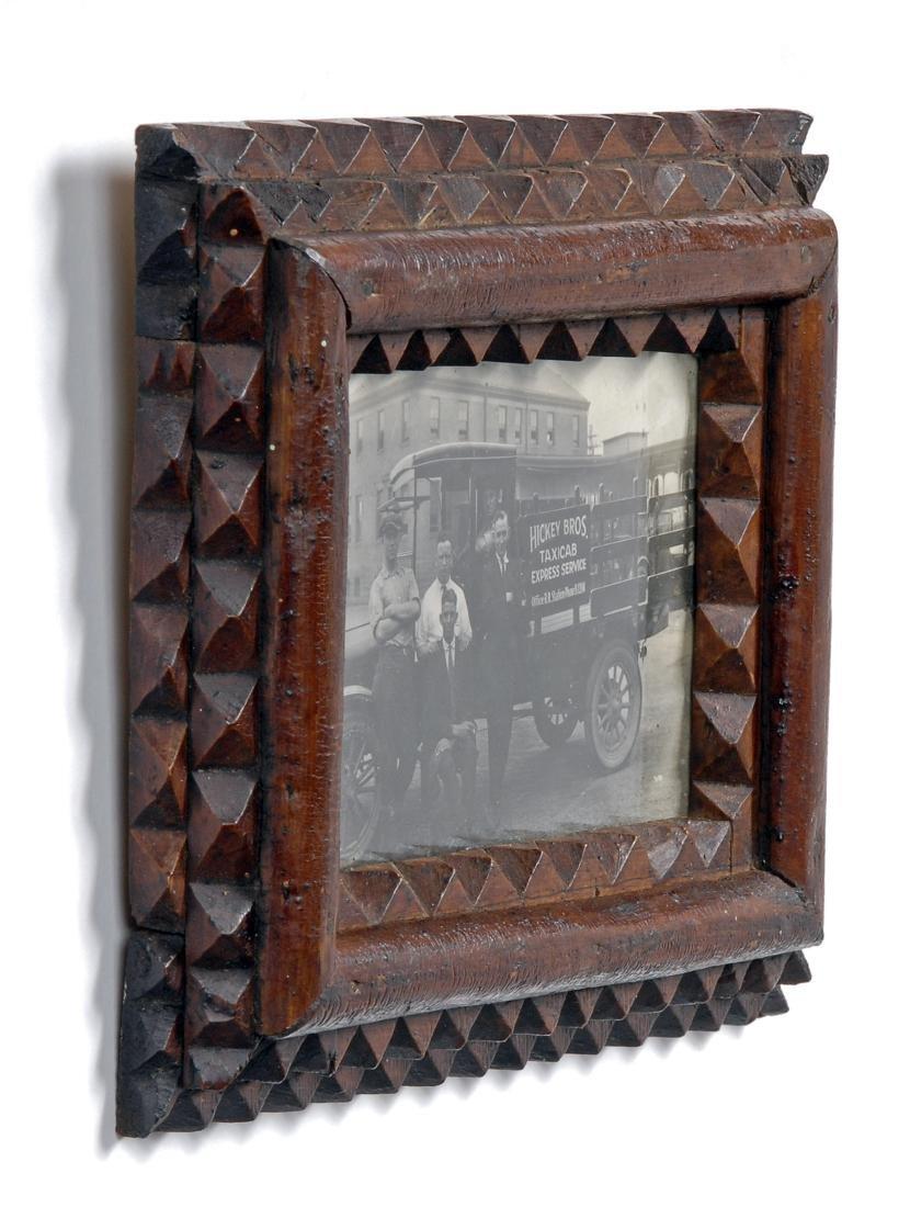 Tramp Art Frame with Original Photograph - 3