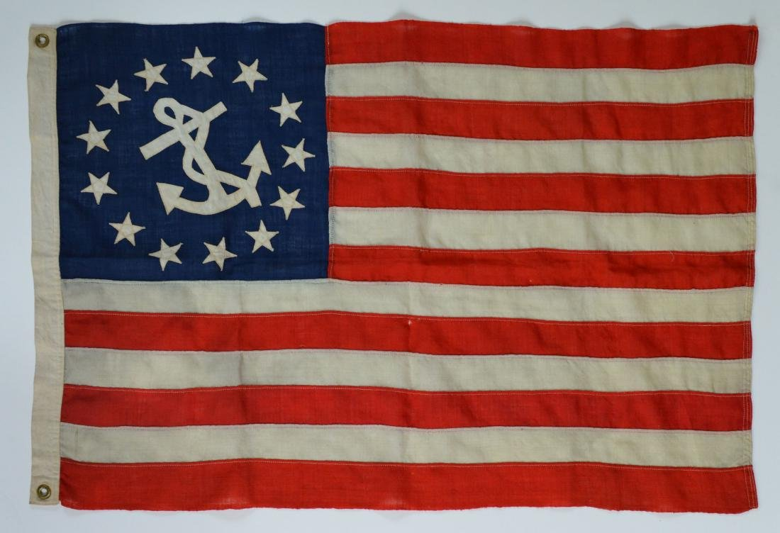 Ca.1900 Nautical Old Vintage 13 Star US American Flag