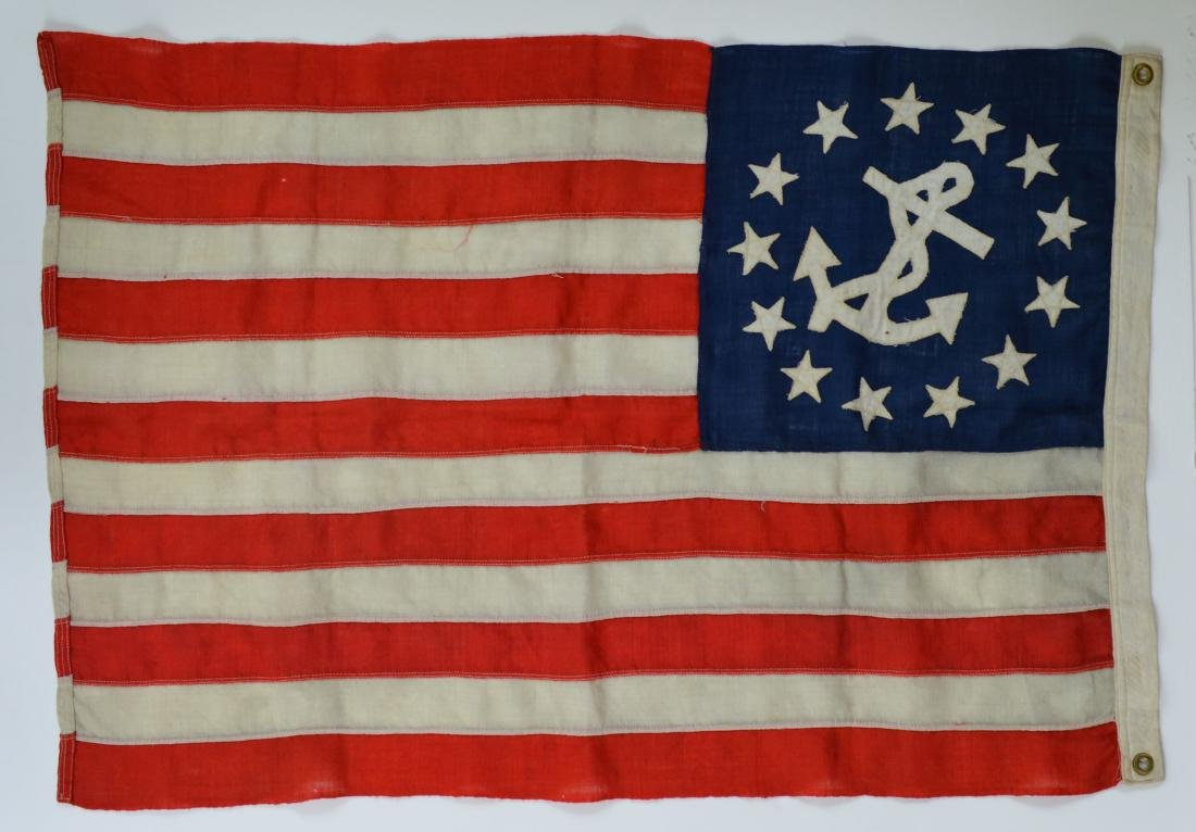 Ca.1900 Nautical Old Vintage 13 Star US American Flag - 2