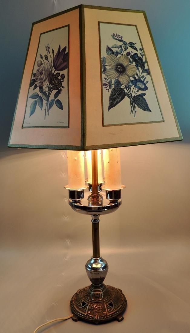 Vintage Bouillotte 3 Way Candlestick Table Lamp