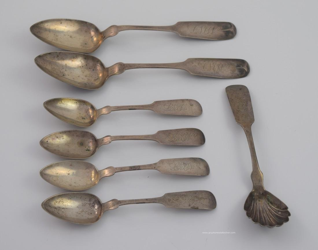 7 Piece Coin Silver Spoons Lot # 50- As Is