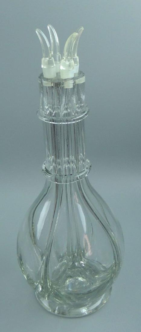 Vintage 4 Chamber Glass Liquor Decanter, France