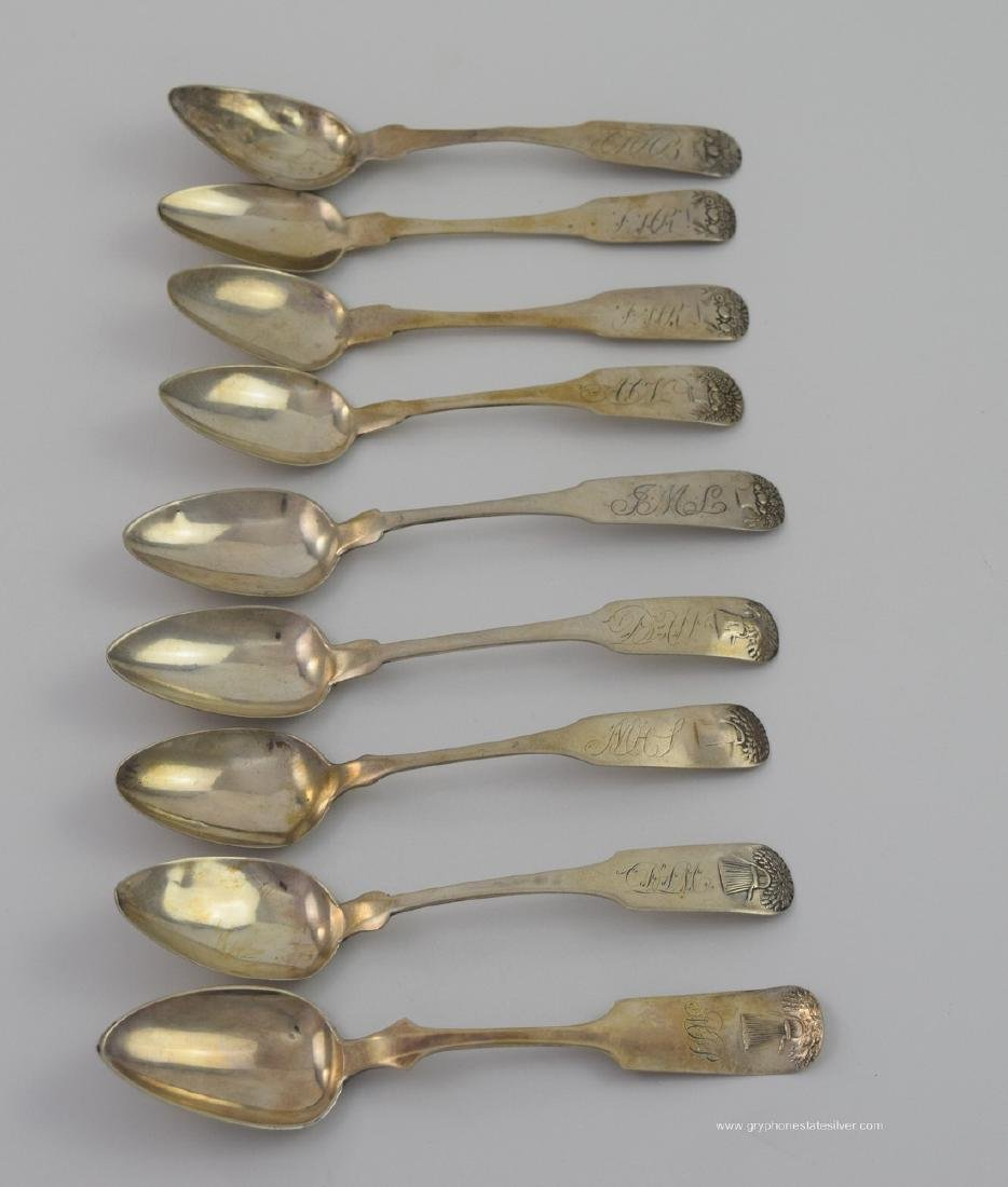 8 Piece American Coin Silver Teaspoons Lot #51 - As Is