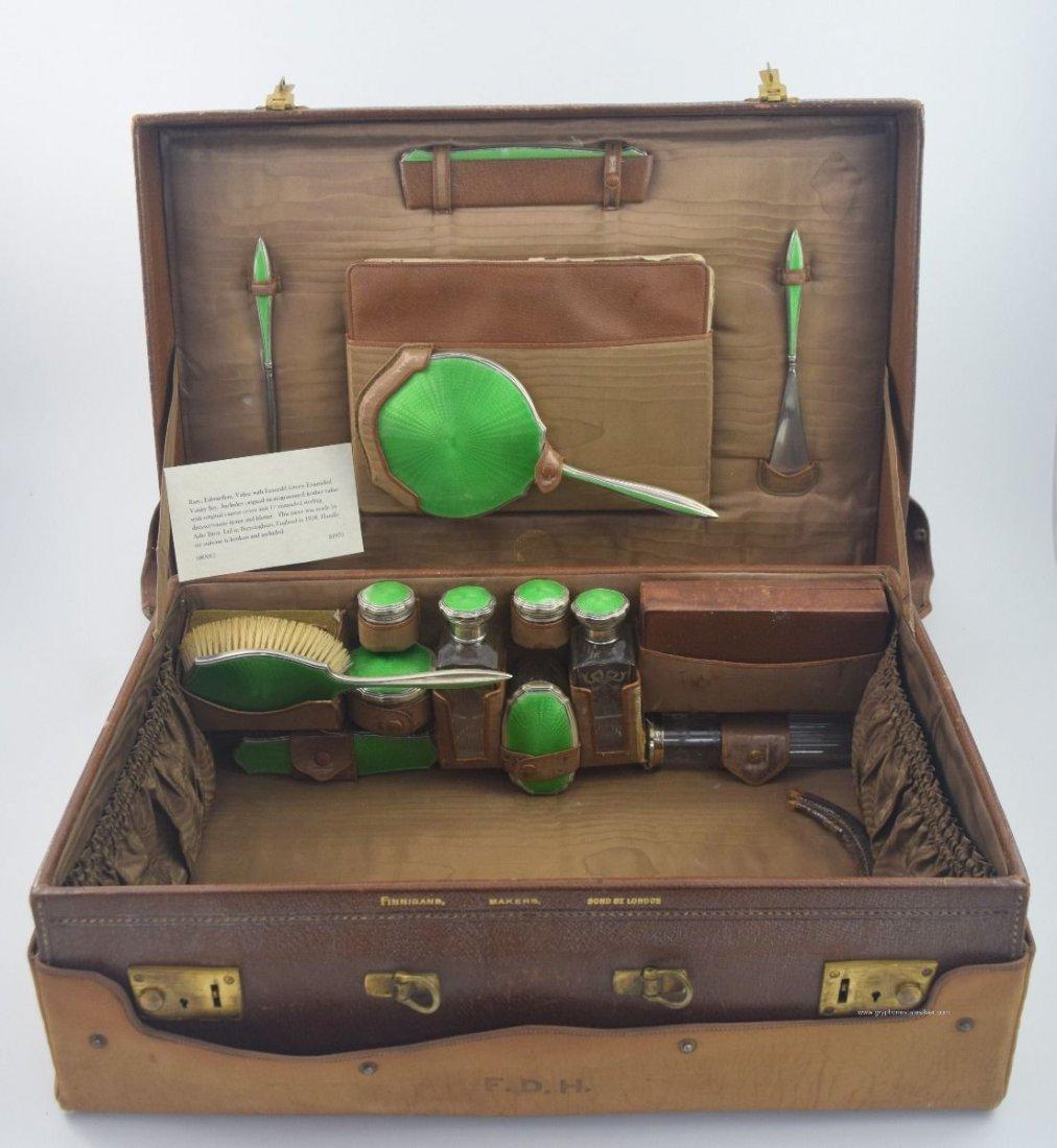 Antique Valise Enamel Sterling Vanity Set, by Adie Bros