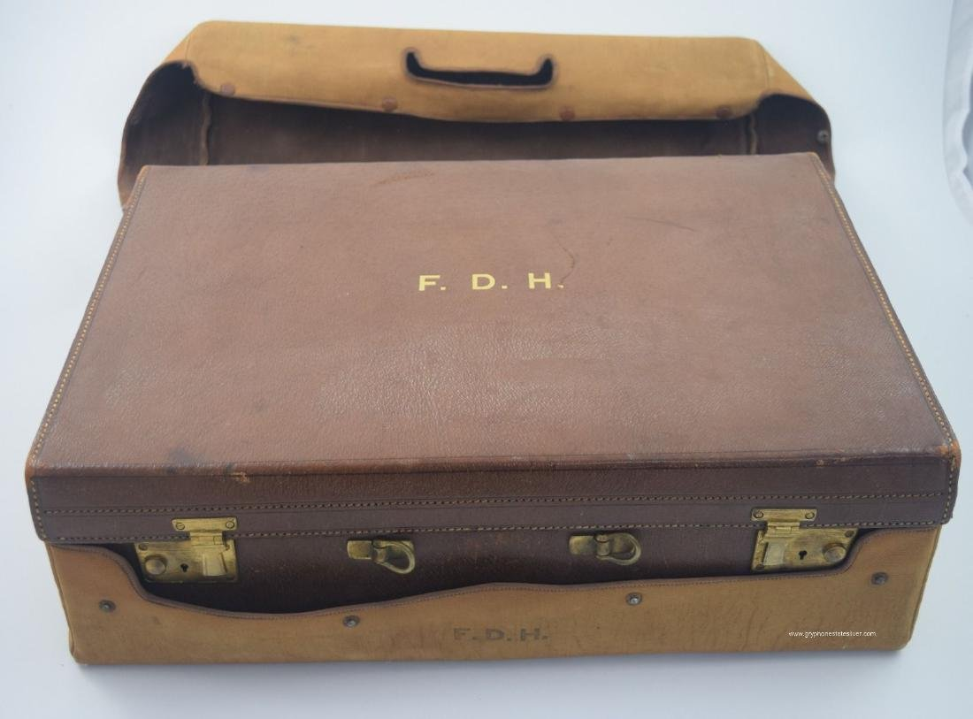 Antique Valise Enamel Sterling Vanity Set, by Adie Bros - 3