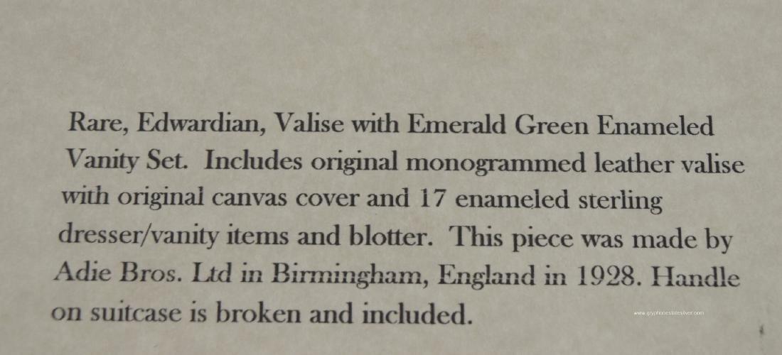 Antique Valise Enamel Sterling Vanity Set, by Adie Bros - 7