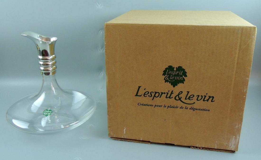 L'esprit & Levin Crystal Glass Carafe Silver Pourer