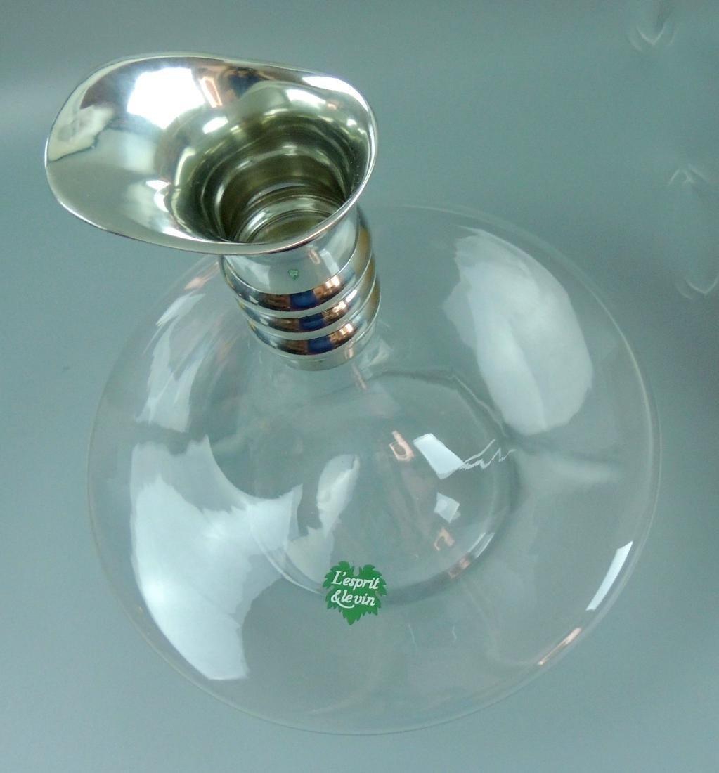 L'esprit & Levin Crystal Glass Carafe Silver Pourer - 6