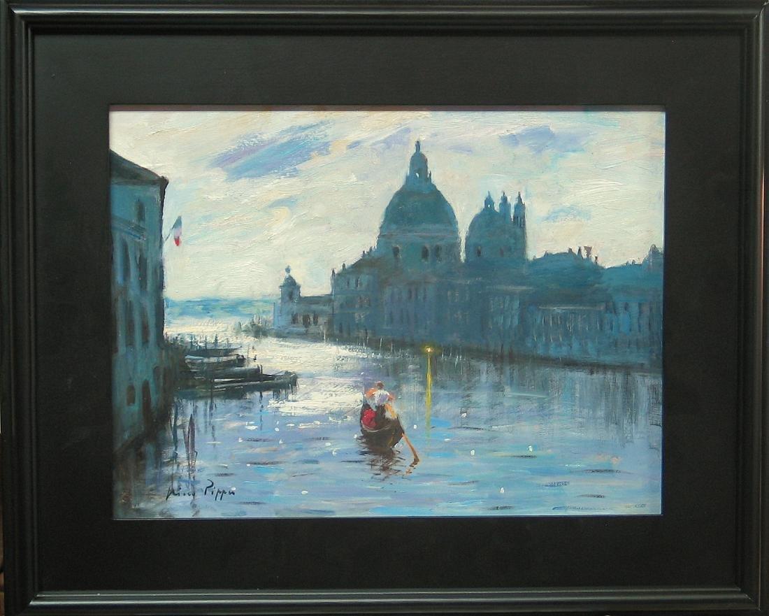 Nino Pippa Painting Venice Twilight on the Grand Canal