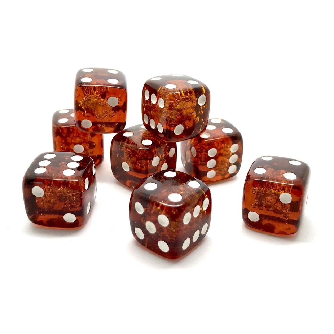 Baltic amber handcarved game dices 8pcs 17.5mm cognac