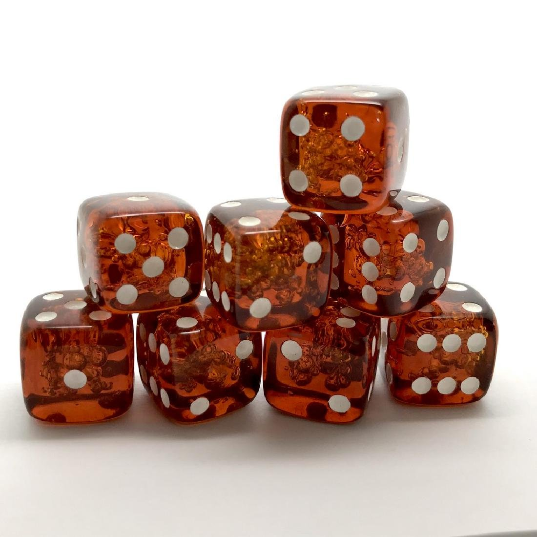 Baltic amber handcarved game dices 8pcs 17.5mm cognac - 2