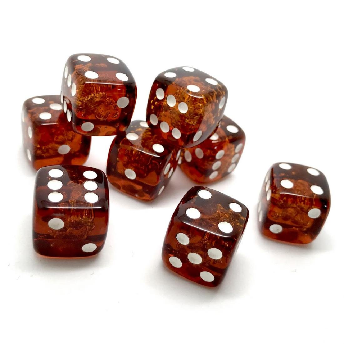 Baltic amber handcarved game dices 8pcs 17.5mm cognac - 3