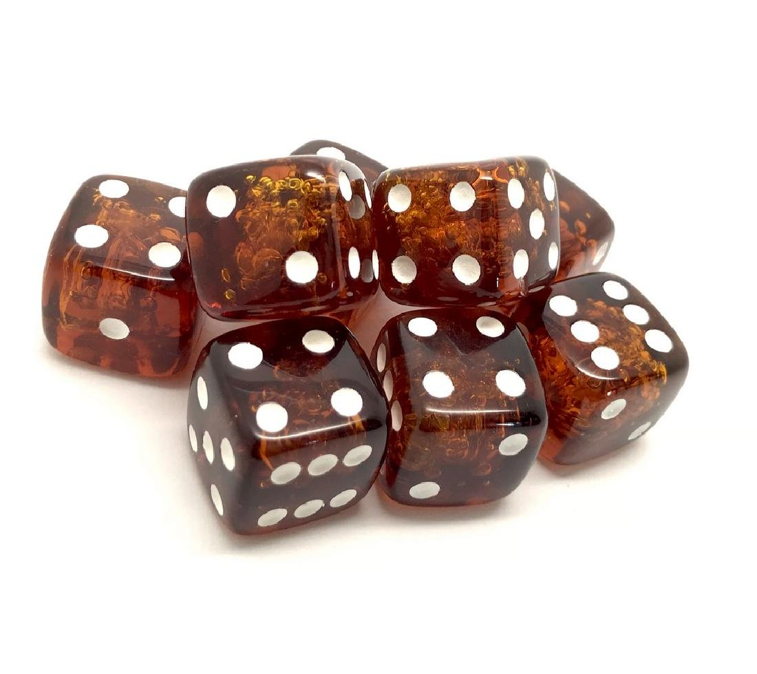 Baltic amber handcarved game dices 8pcs 17.5mm cognac - 4