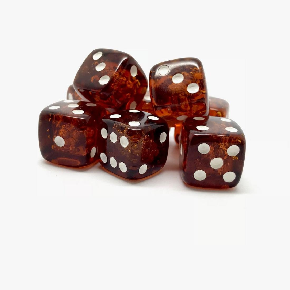 Baltic amber handcarved game dices 8pcs 17.5mm cognac - 6