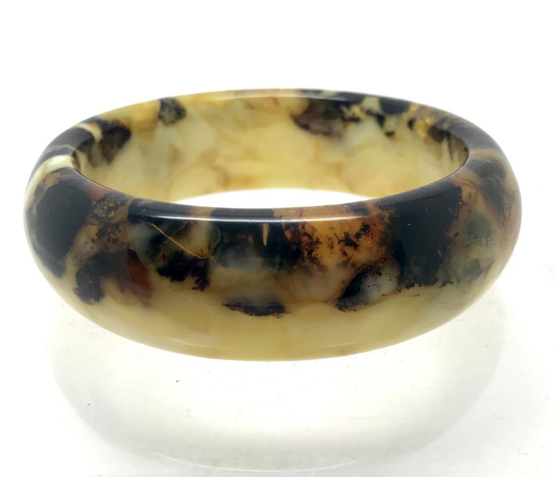 Cut Baltic amber bangle bracelet 42x85mm 45.6 gr - 8