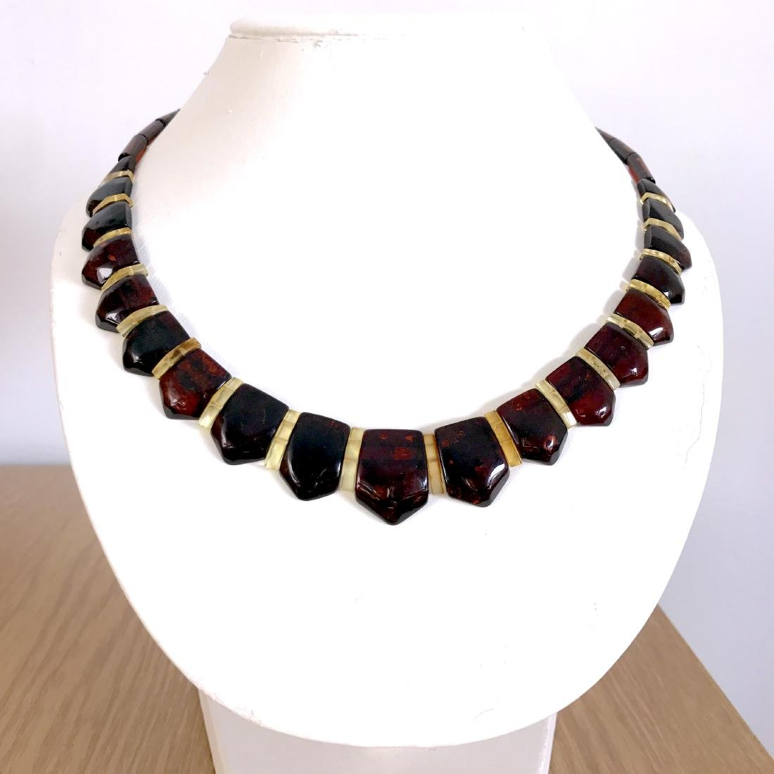 Wide collar Baltic amber necklace cherry&lemon 21mm